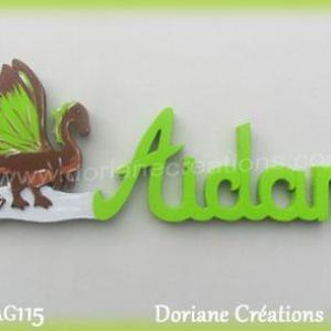 Prenom lettres bois aidan avec dragon