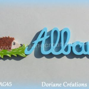 Prenom lettres bois alban herisson