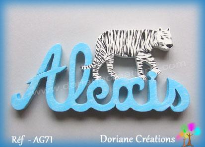 Prenom lettres bois alexis tigre