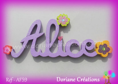 Prenom lettres bois alice deco fleurs