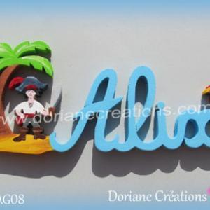 Prenom lettres bois alix pirate perroquet