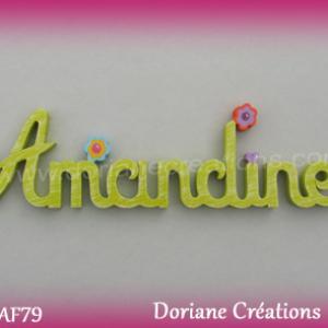 Prenom lettres bois amandine deco fleurs