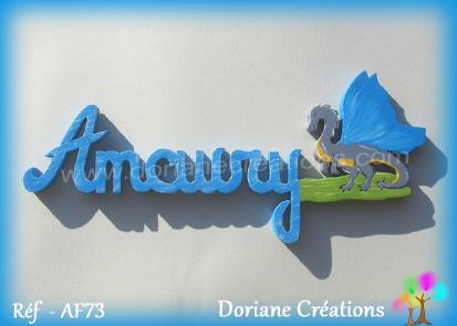Prenom lettres bois amaury avec dragon
