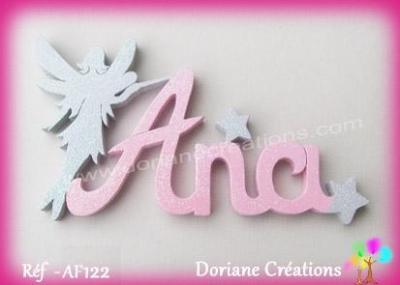 Prénom lettres bois avec décor fée silhouette