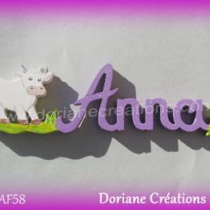Prenom lettres bois anna avec vache