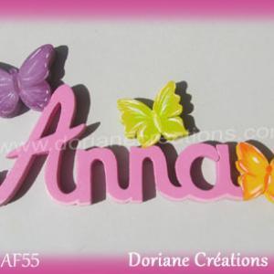 Prenom lettres bois anna papillons
