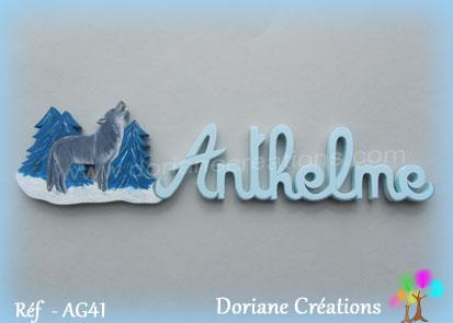 Prenom lettres bois anthelme avec loup