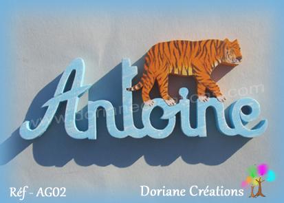 Prenom lettres bois antoine tigre