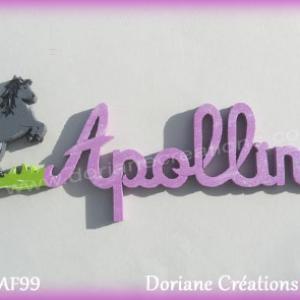 Prenom lettres bois apolline avec cheval