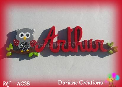 Prenom lettres bois arthur avec chouette