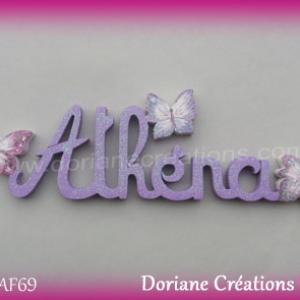 Prenom lettres bois athena papillons
