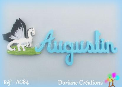 Prenom lettres bois augustin avec dragon
