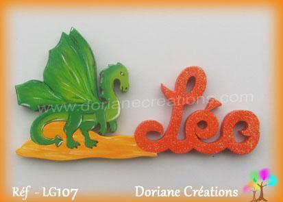 Prenom lettres bois avec dragon leo