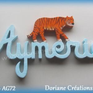 Prenom lettres bois aymeric tigre