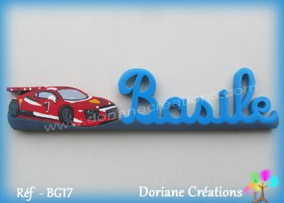 Prenom lettres bois basile voiture de course
