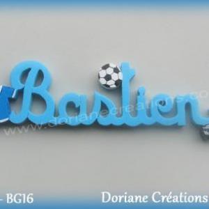 Prenom lettres bois bastien theme football