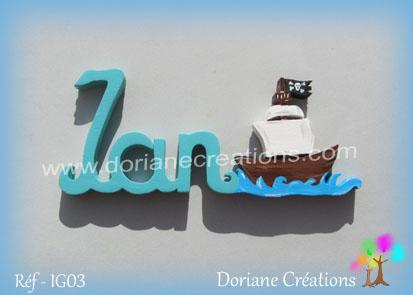 Prenom lettres bois bateau pirate ian