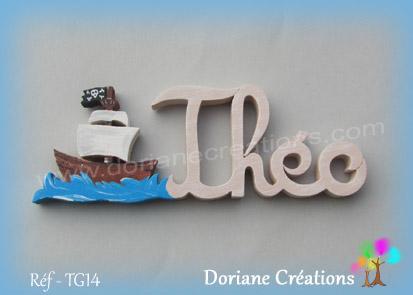 Prenom lettres bois bateau pirate theo