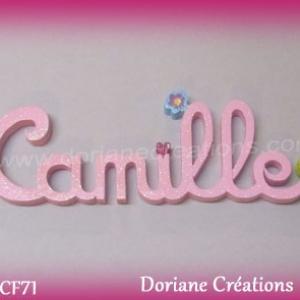 Prenom lettres bois camille deco fleurs