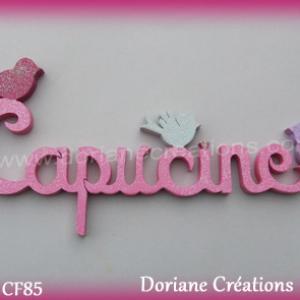 Prenom lettres bois capucine avec oiseaux