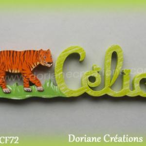 Prenom lettres bois celia decor tigre