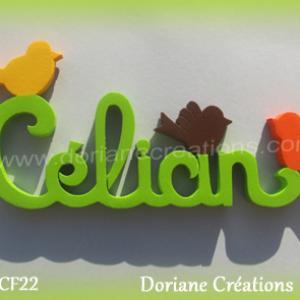 Prenom lettres bois celian avec oiseaux