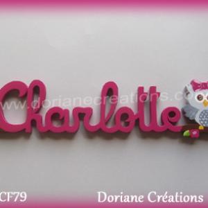 Prenom lettres bois charlotte chouette