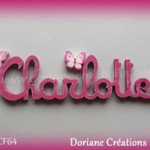 Prenom lettres bois charlotte papillons
