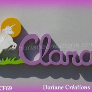 Prenom lettres bois clara licorne