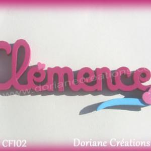 Prenom lettres bois clemence coeurs