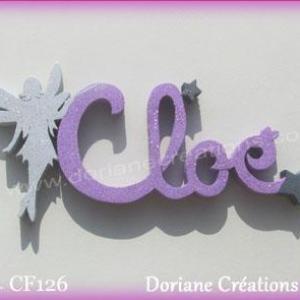 Prenom lettres bois cloe fee