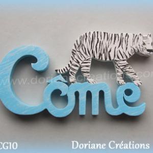 Prenom lettres bois come tigre blanc