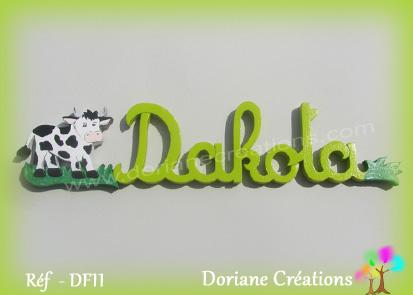 Prenom lettres bois dakota avec vache