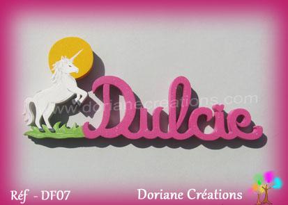 Prenom lettres bois dulcie licorne