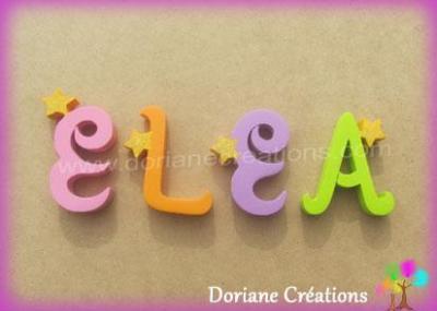 Lettres en bois étoiles ELEA