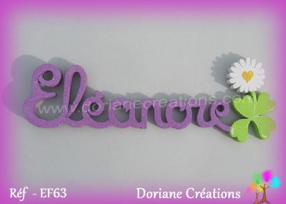 Prenom lettres bois eleanore avec paquerette