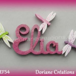 Prenom lettres bois elia avec libellules