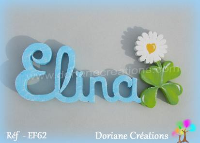 Prenom lettres bois elina avec paquerette