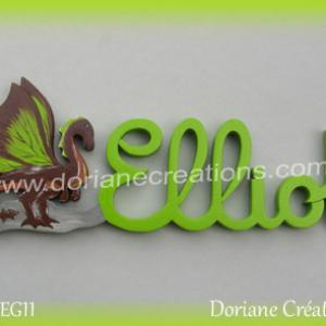 Prenom lettres bois elliot avec dragon