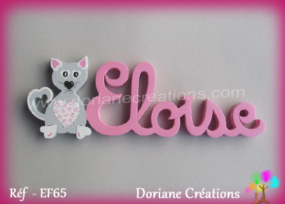 Prenom lettres bois eloise avec chat