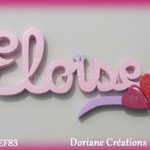 Prenom lettres bois eloise coeurs