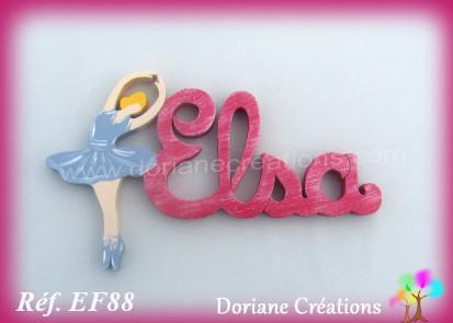 Prenom lettres bois elsa avec danseuse