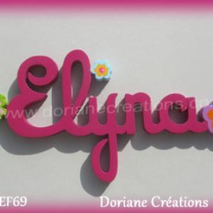 Prenom lettres bois elyna avec fleurs