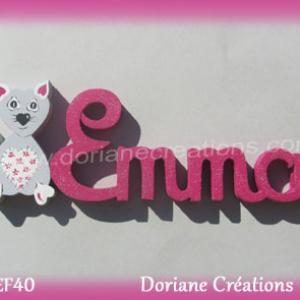 Prenom lettres bois emma avec chat