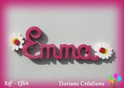 Prenom lettres bois emma avec marguerites