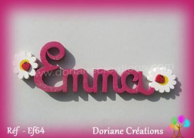 Prénom lettres bois décor marguerites et coccinelles
