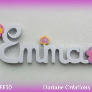 Prenom lettres bois emma deco fleurs