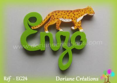 Prénom lettres bois léopard en marche