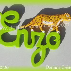 Prenom lettres bois enzo leopard