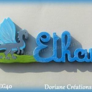 Prenom lettres bois ethan avec dragon